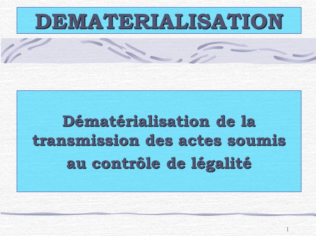 DEMATERIALISATION Dématérialisation de la transmission des actes soumis au contrôle de légalité