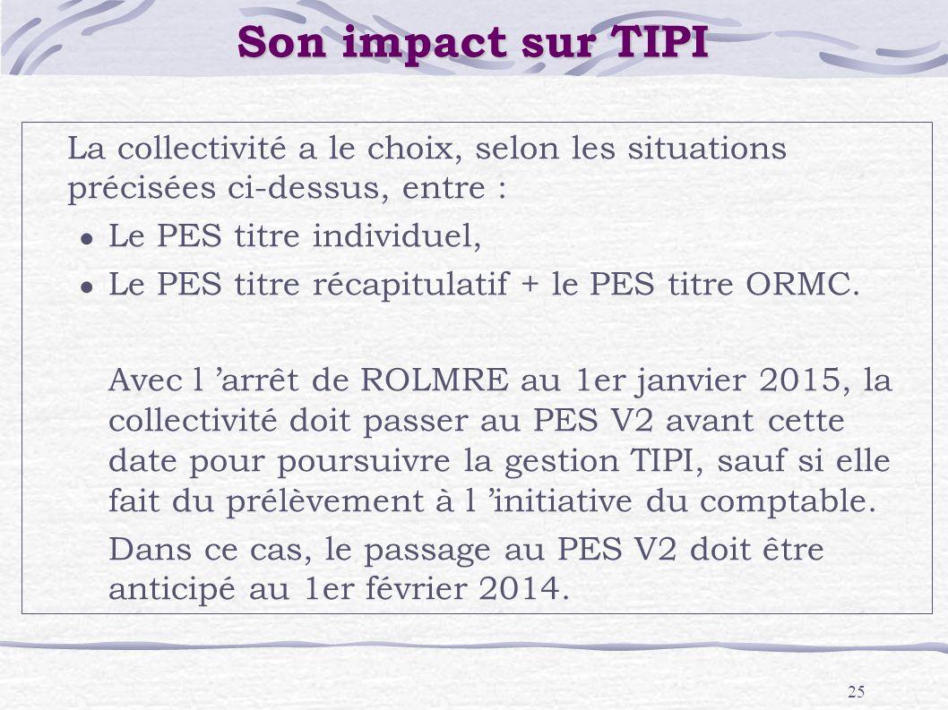 Son impact sur TIPILa collectivité a le choix, selon les situations précisées ci-dessus, entre : Le PES titre individuel,