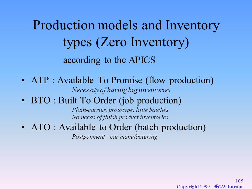 Production models and Inventory types (Zero Inventory)