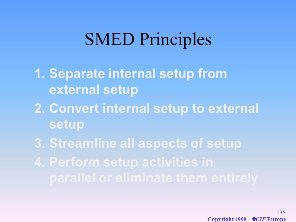 SMED Principles Separate internal setup from external setup