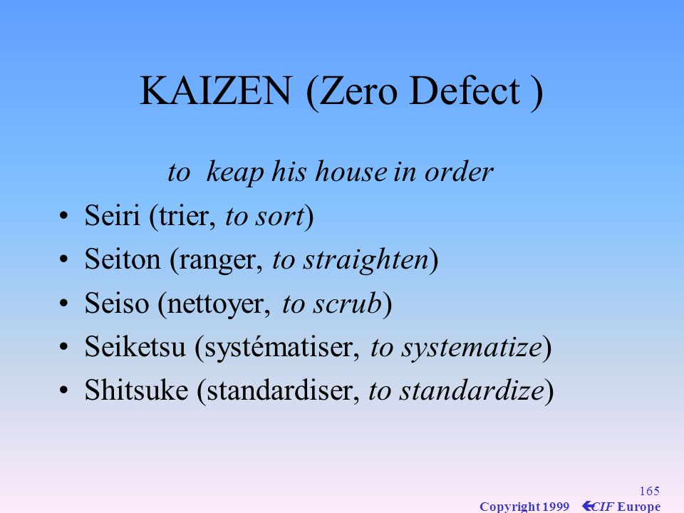 KAIZEN (Zero Defect ) to keap his house in order