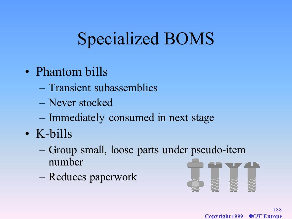 Specialized BOMS Phantom bills K-bills Transient subassemblies