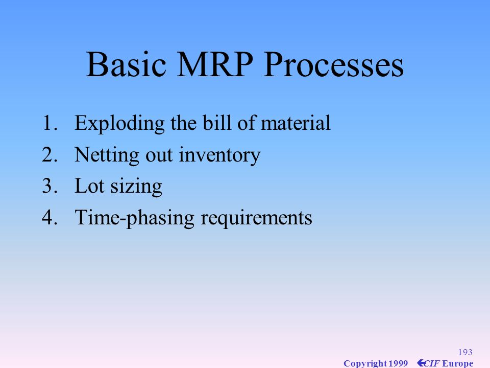 Basic MRP Processes Exploding the bill of material