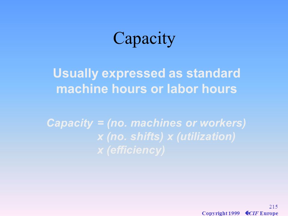 Usually expressed as standard machine hours or labor hours