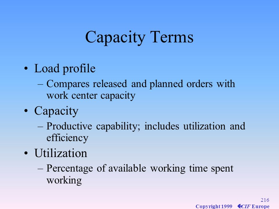 Capacity Terms Load profile Capacity Utilization