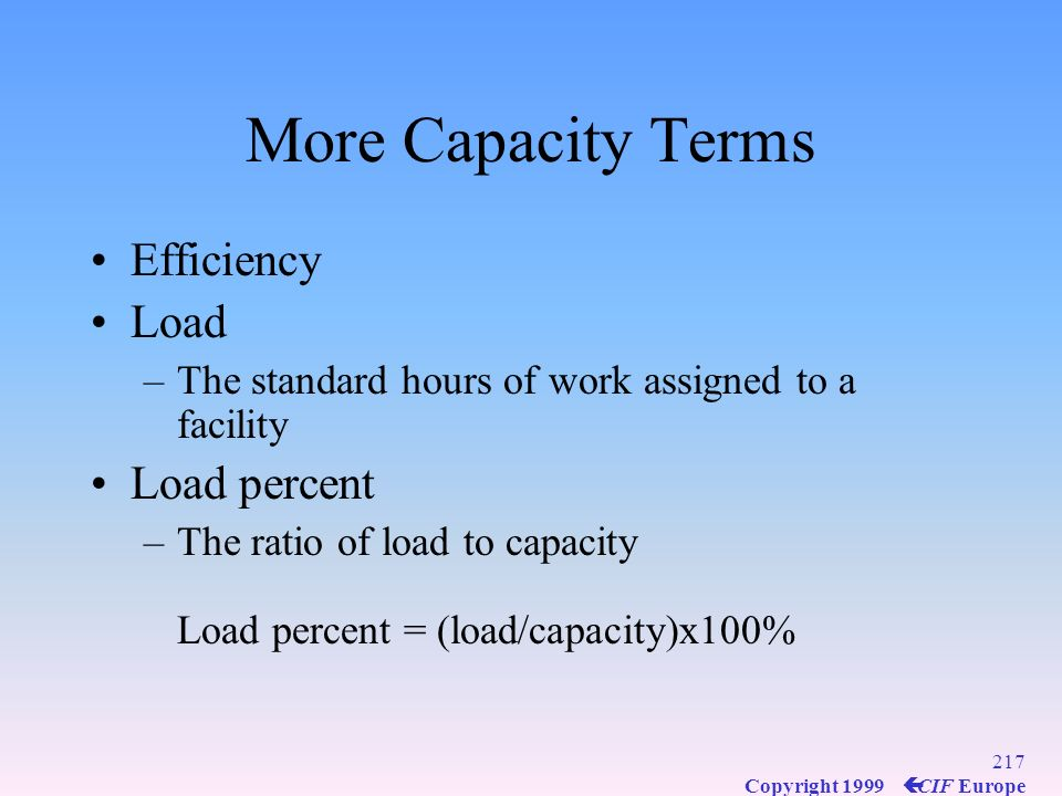 More Capacity Terms Efficiency Load Load percent