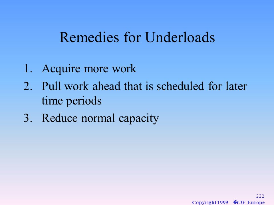 Remedies for Underloads