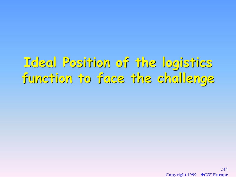 Ideal Position of the logistics function to face the challenge