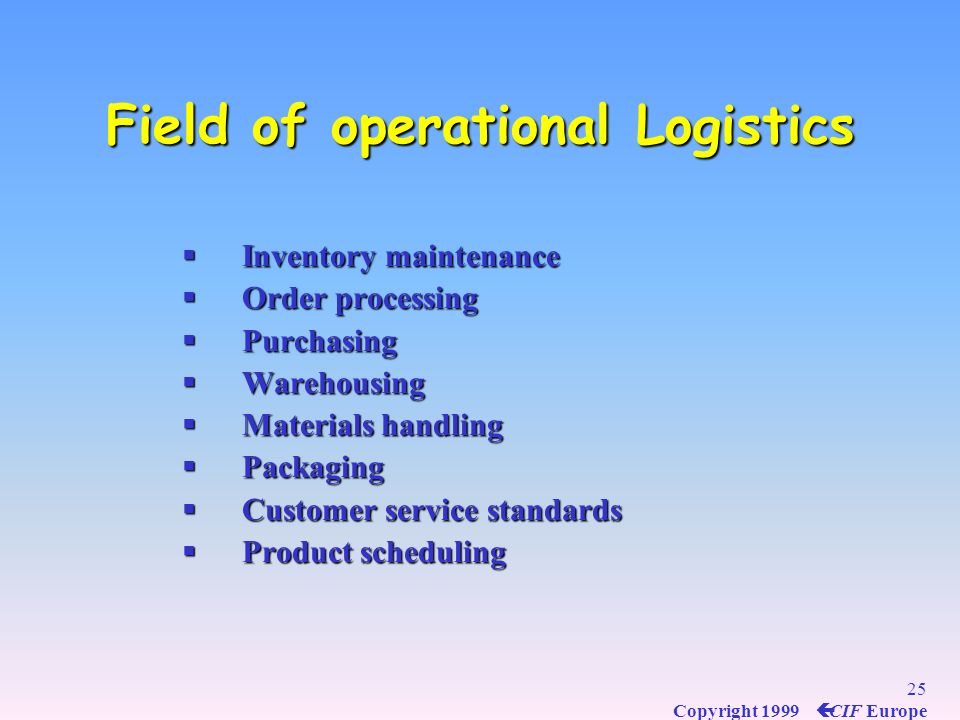 Field of operational Logistics