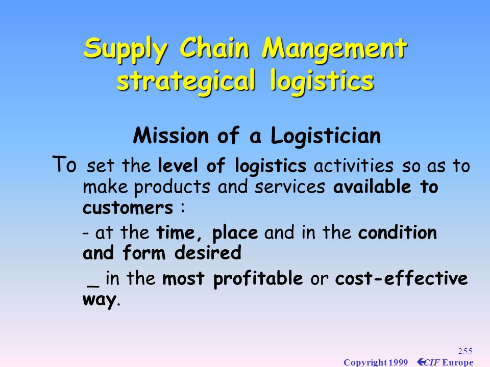 Supply Chain Mangement strategical logistics