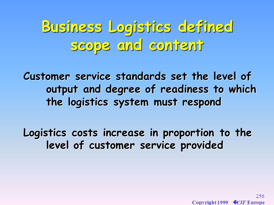 Business Logistics defined scope and content