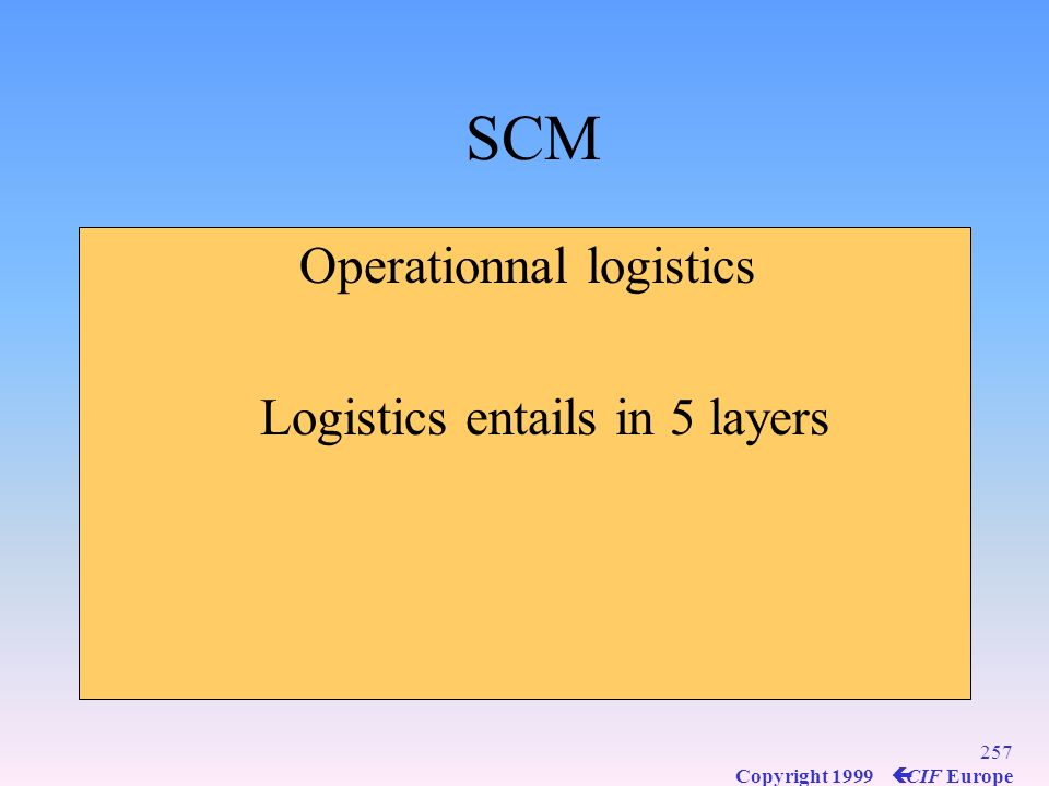 SCM Operationnal logistics Logistics entails in 5 layers