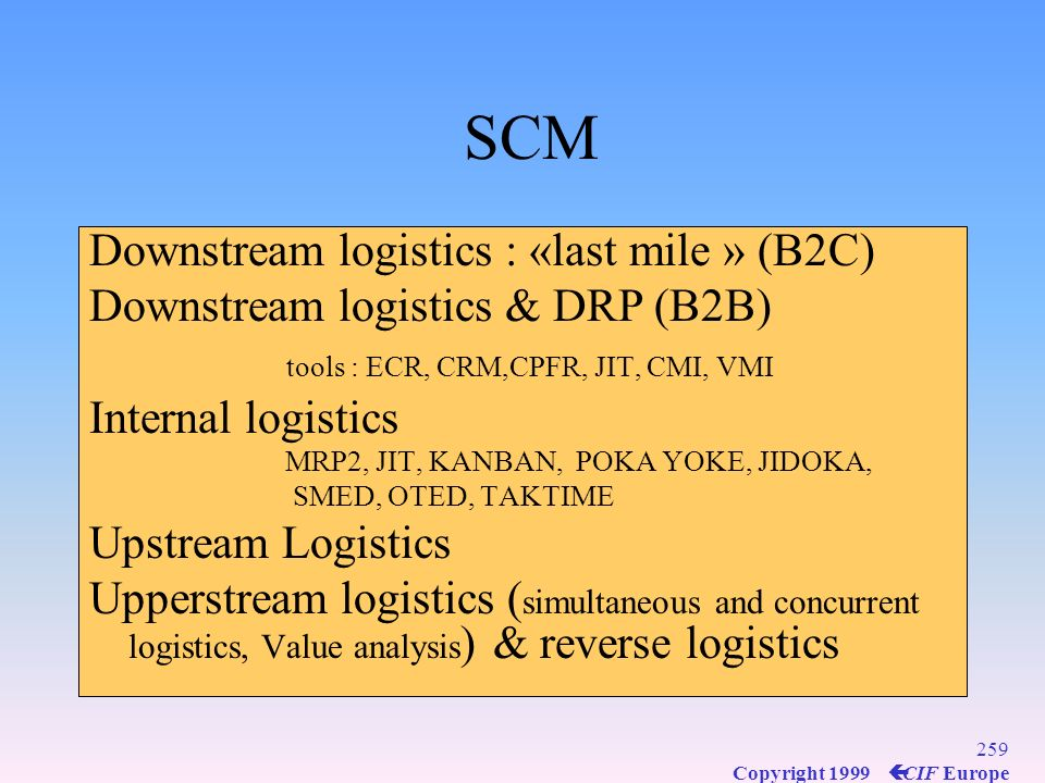 SCM Downstream logistics : «last mile » (B2C)
