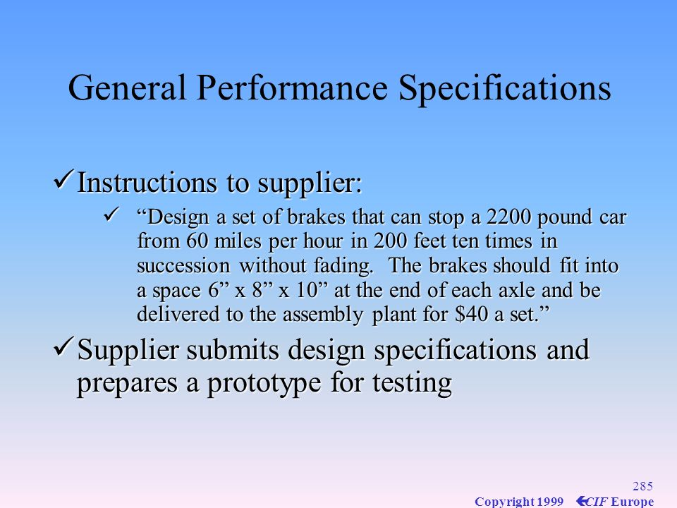General Performance Specifications
