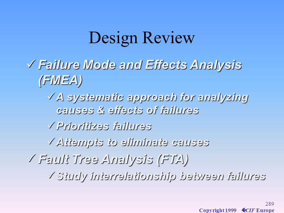 Design Review Failure Mode and Effects Analysis (FMEA)