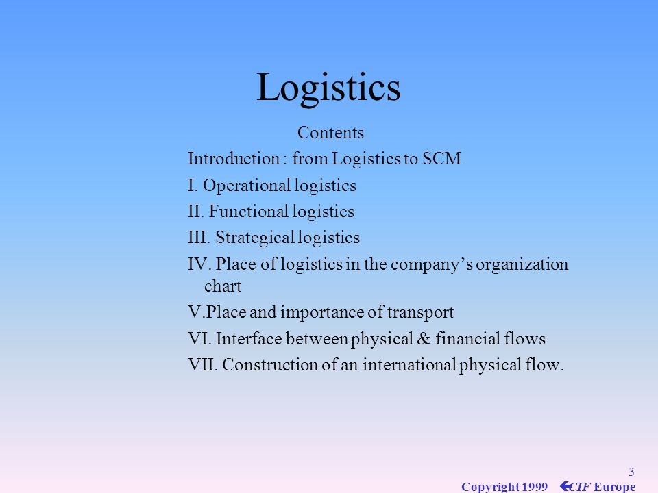 Logistics Contents Introduction : from Logistics to SCM