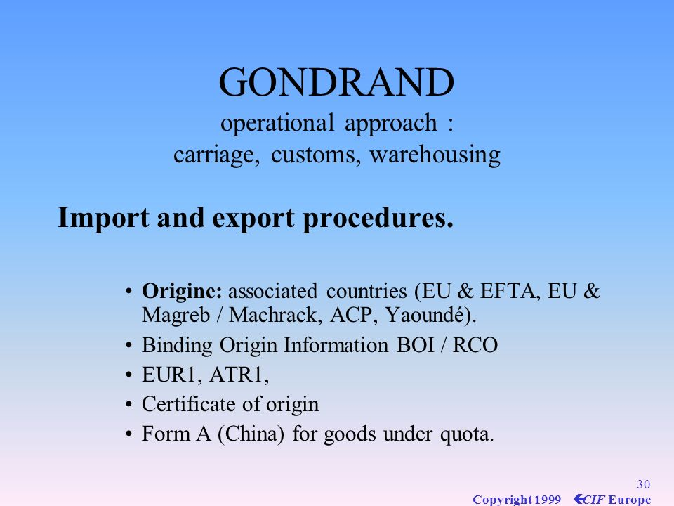 GONDRAND operational approach : carriage, customs, warehousing