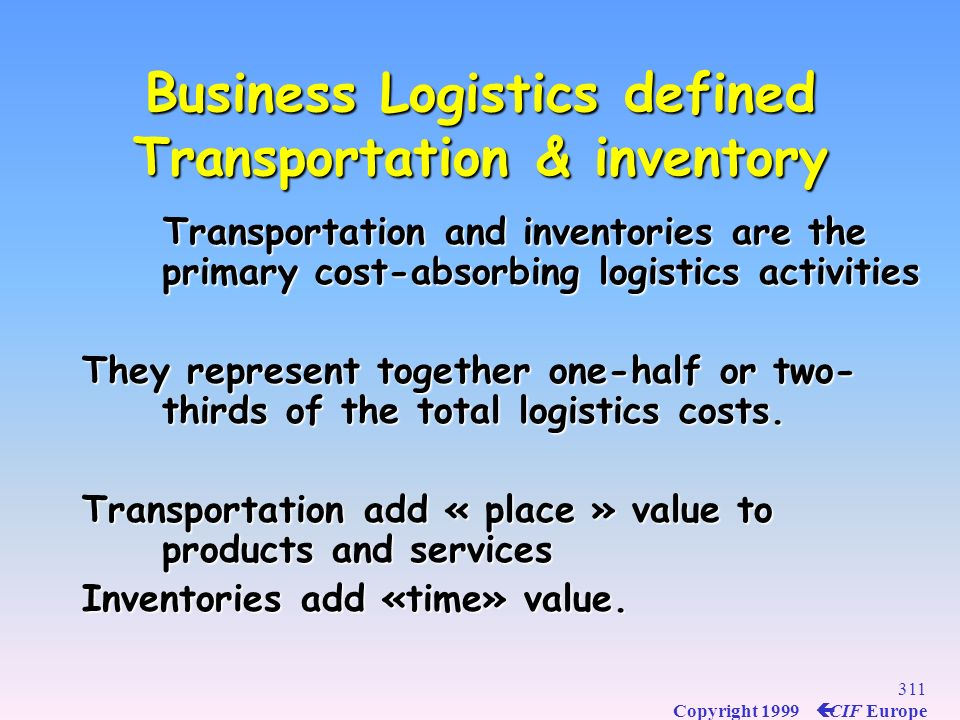 Business Logistics defined Transportation & inventory