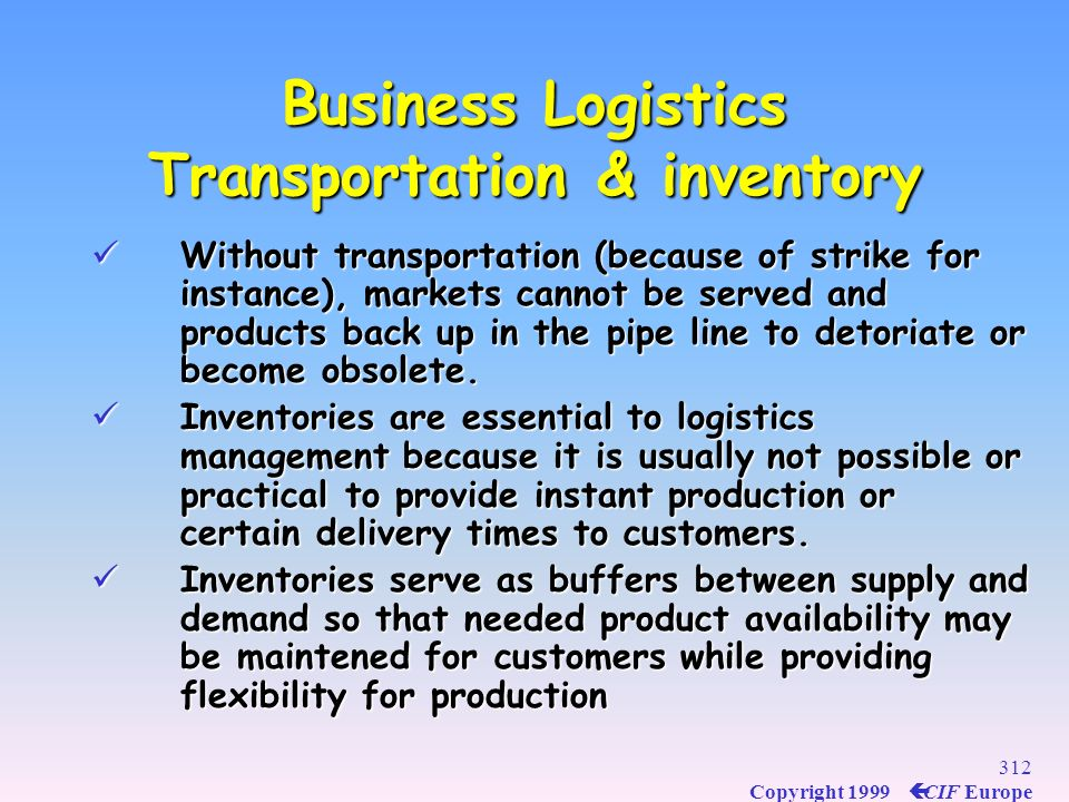Business Logistics Transportation & inventory