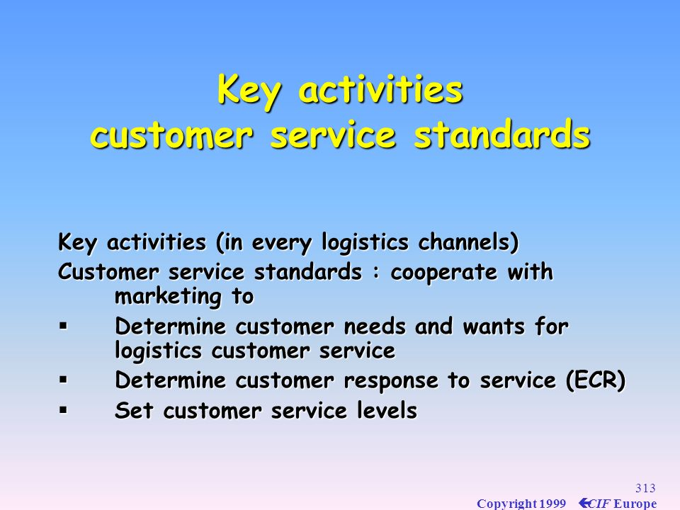 Key activities customer service standards