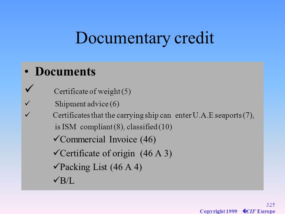 Documentary credit Documents Certificate of weight (5)