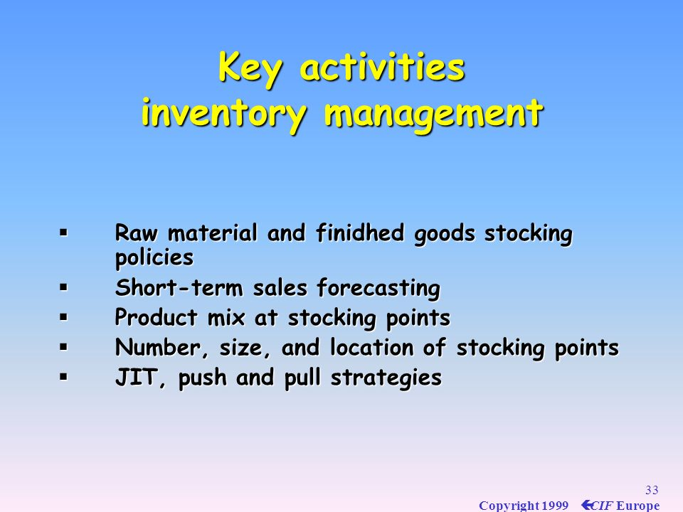 Key activities inventory management