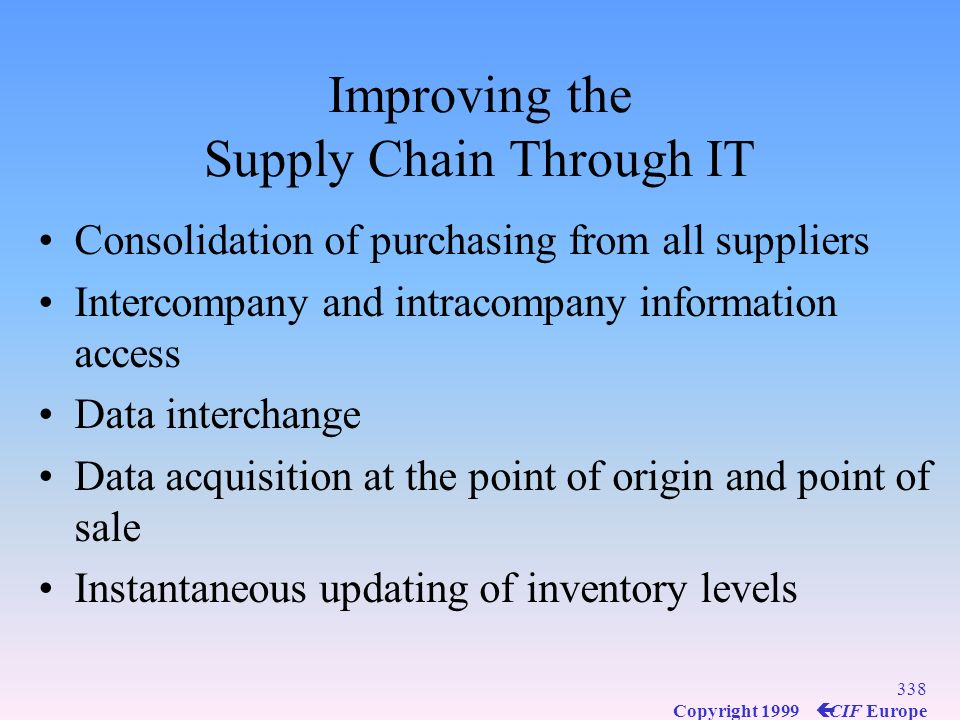 Improving the Supply Chain Through IT