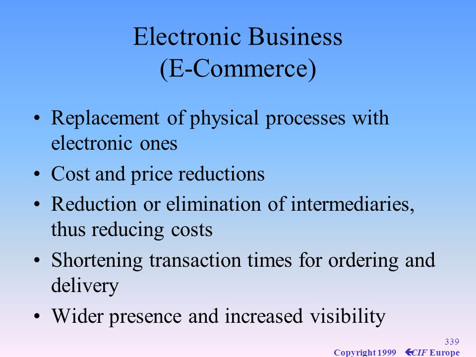 Electronic Business (E-Commerce)