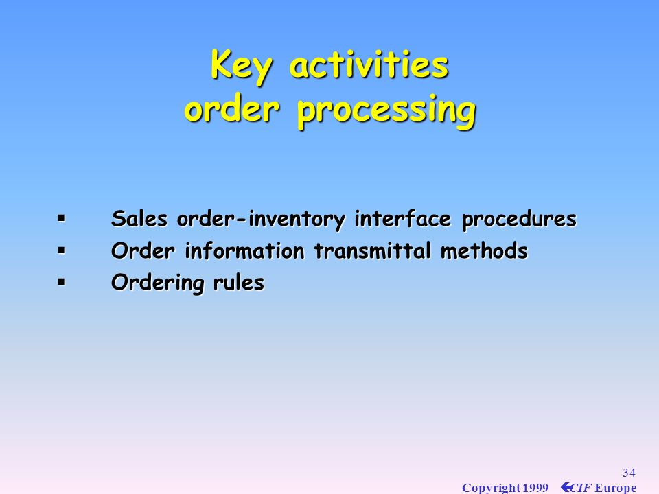 Key activities order processing