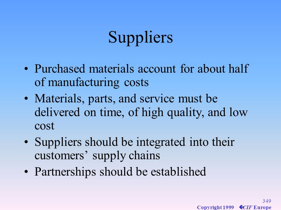 Suppliers Purchased materials account for about half of manufacturing costs.