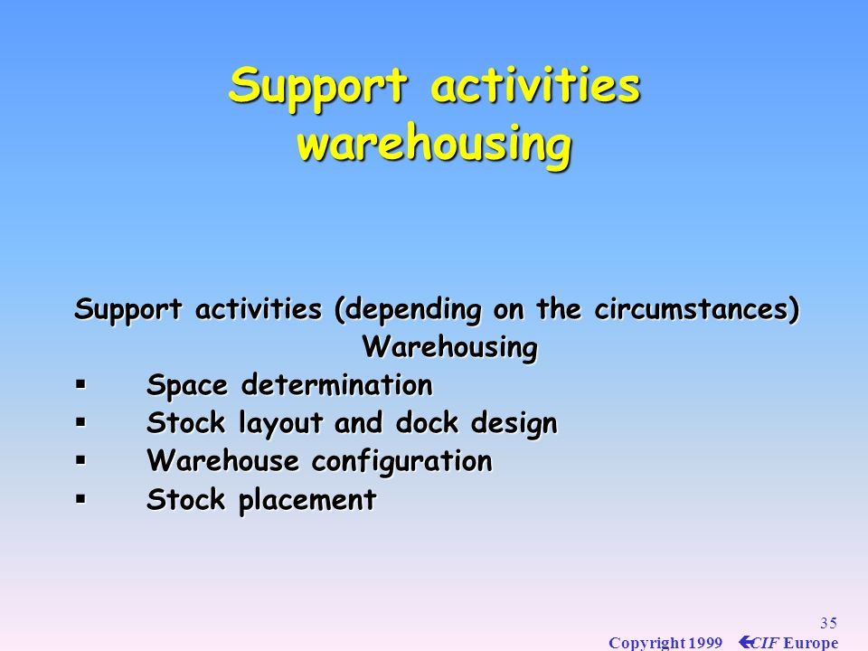 Support activities warehousing