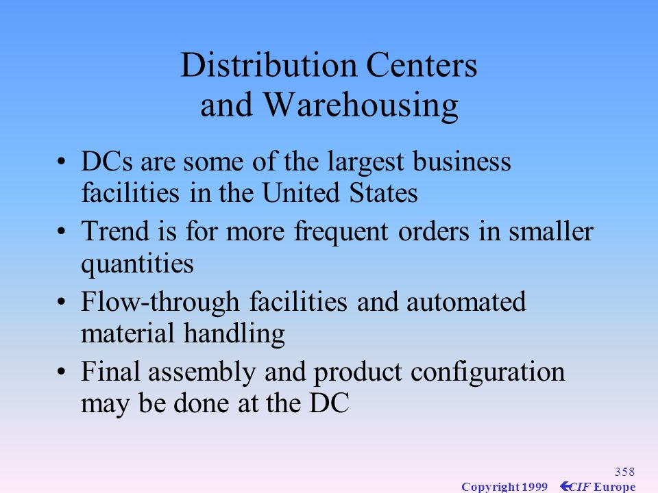 Distribution Centers and Warehousing