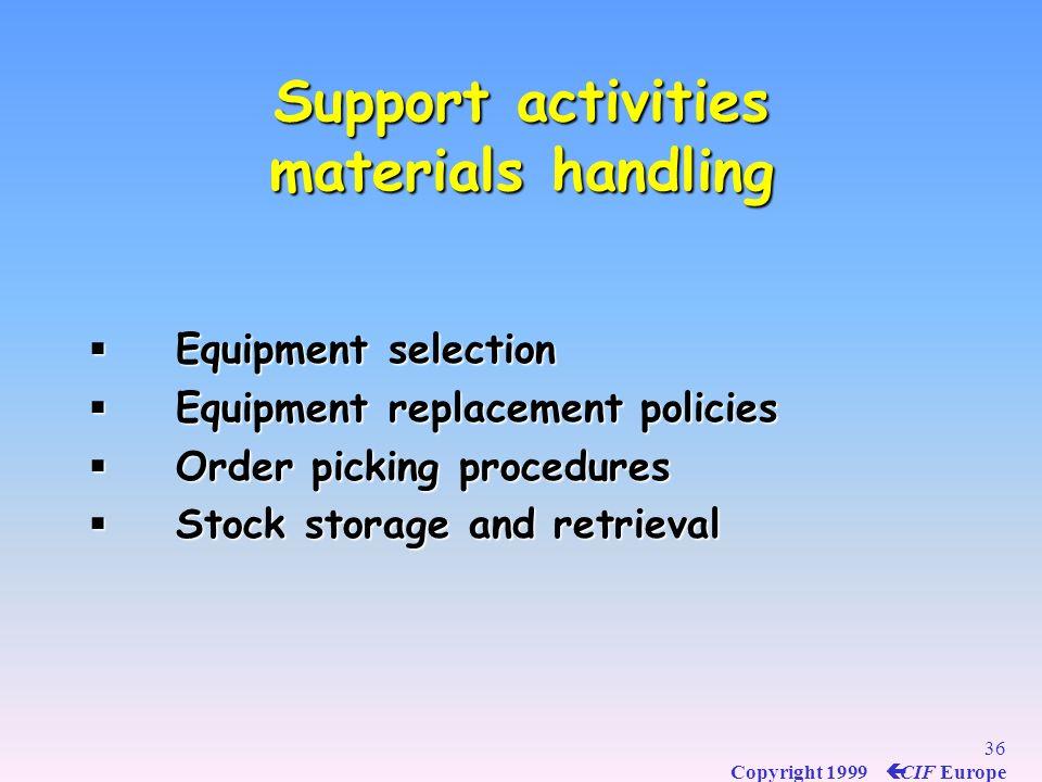 Support activities materials handling