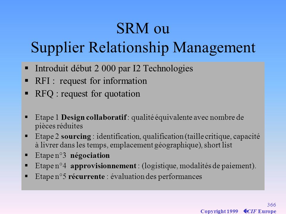 SRM ou Supplier Relationship Management