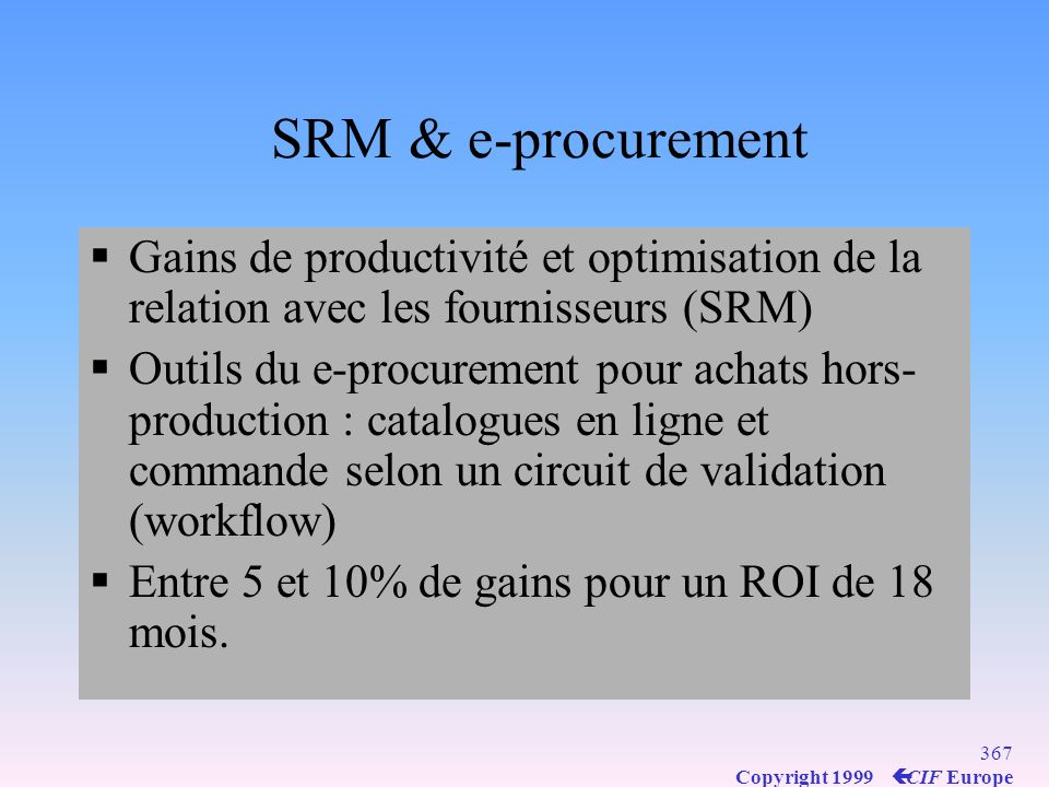 SRM & e-procurement Gains de productivité et optimisation de la relation avec les fournisseurs (SRM)
