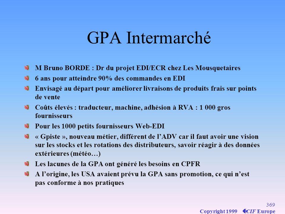 GPA Intermarché M Bruno BORDE : Dr du projet EDI/ECR chez Les Mousquetaires. 6 ans pour atteindre 90% des commandes en EDI.