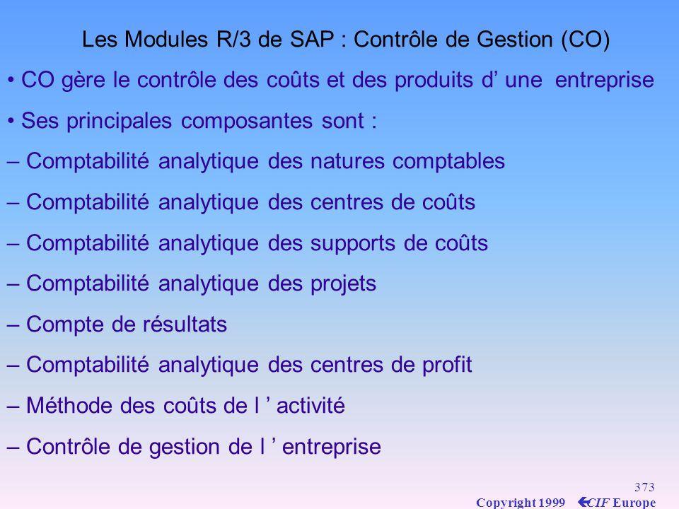 Les Modules R/3 de SAP : Contrôle de Gestion (CO)