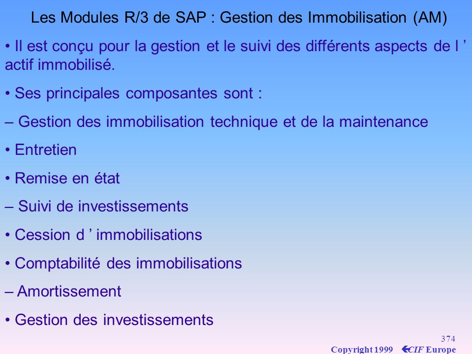 Les Modules R/3 de SAP : Gestion des Immobilisation (AM)