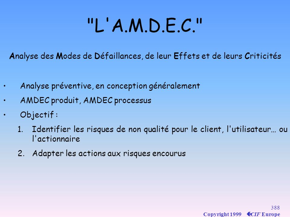 L A.M.D.E.C. Analyse des Modes de Défaillances, de leur Effets et de leurs Criticités. Analyse préventive, en conception généralement.