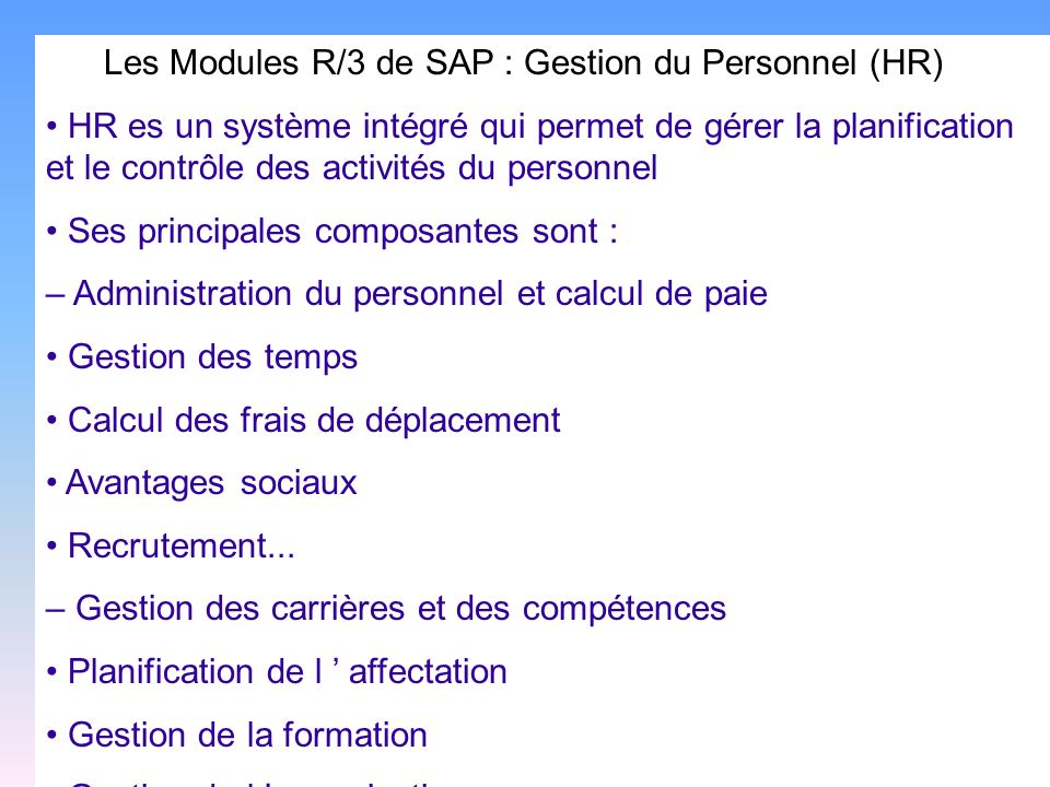 Les Modules R/3 de SAP : Gestion du Personnel (HR)