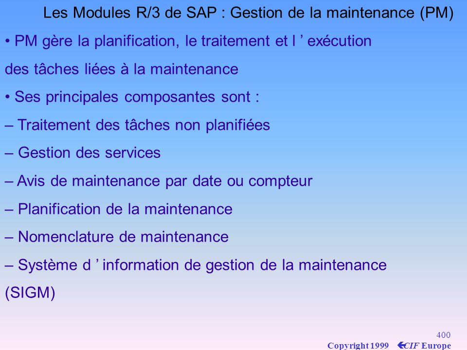 Les Modules R/3 de SAP : Gestion de la maintenance (PM)
