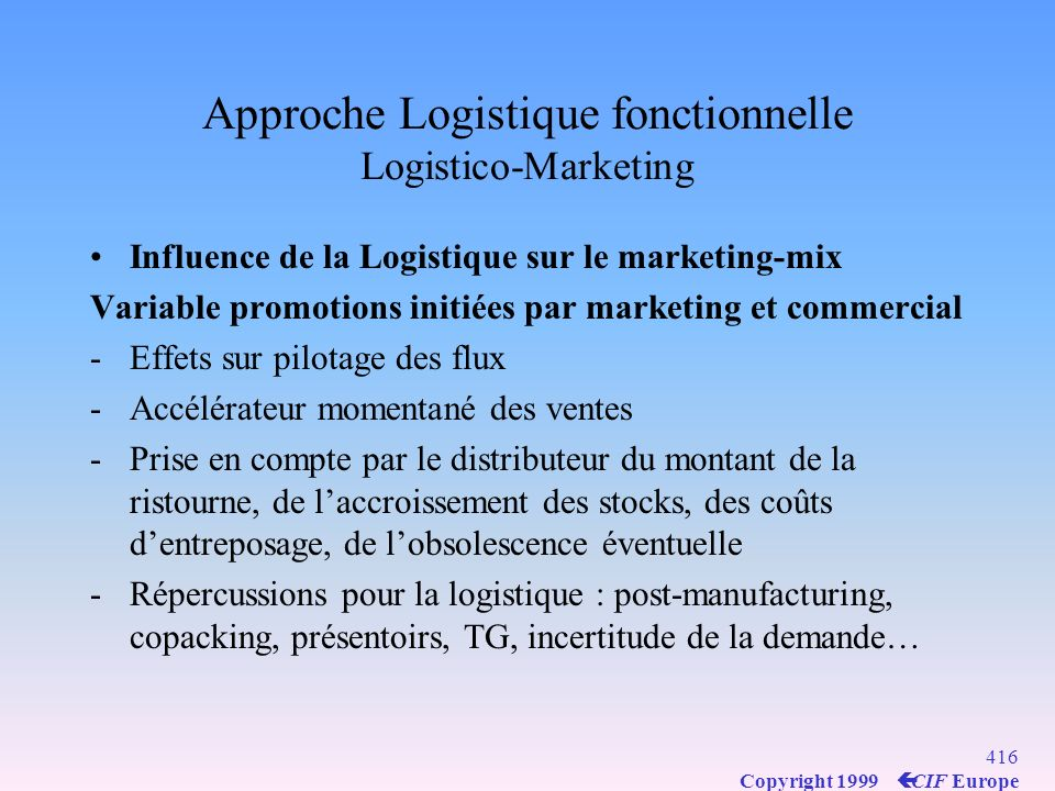 Approche Logistique fonctionnelle Logistico-Marketing