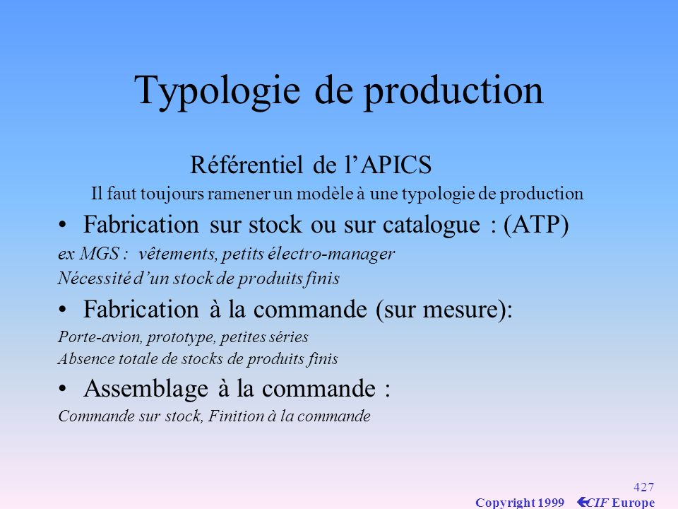 Typologie de production