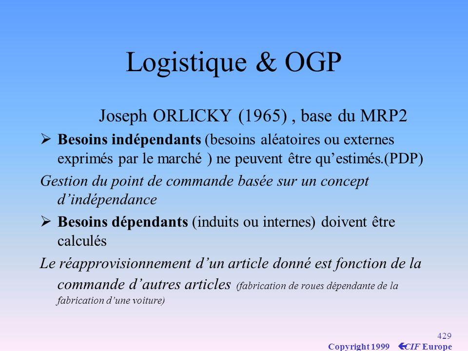 Logistique & OGP Joseph ORLICKY (1965) , base du MRP2