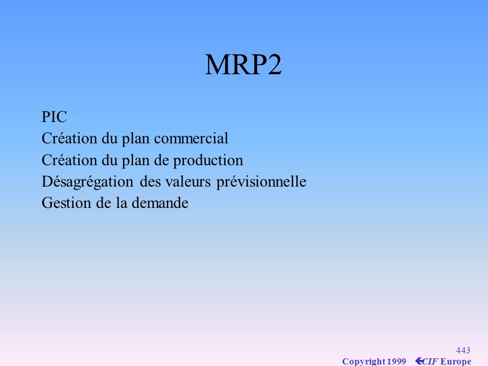 MRP2 PIC Création du plan commercial Création du plan de production