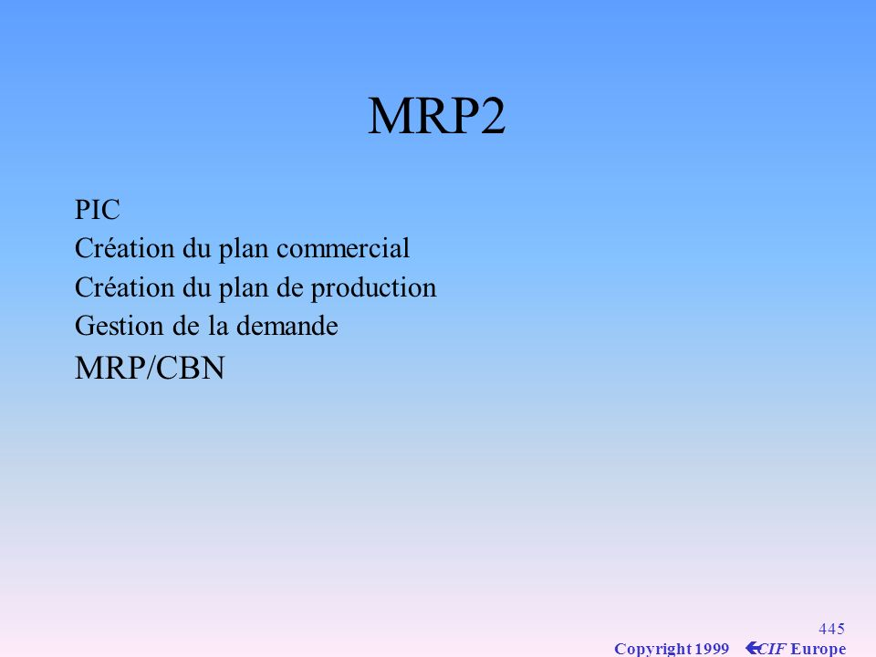 MRP2 MRP/CBN PIC Création du plan commercial