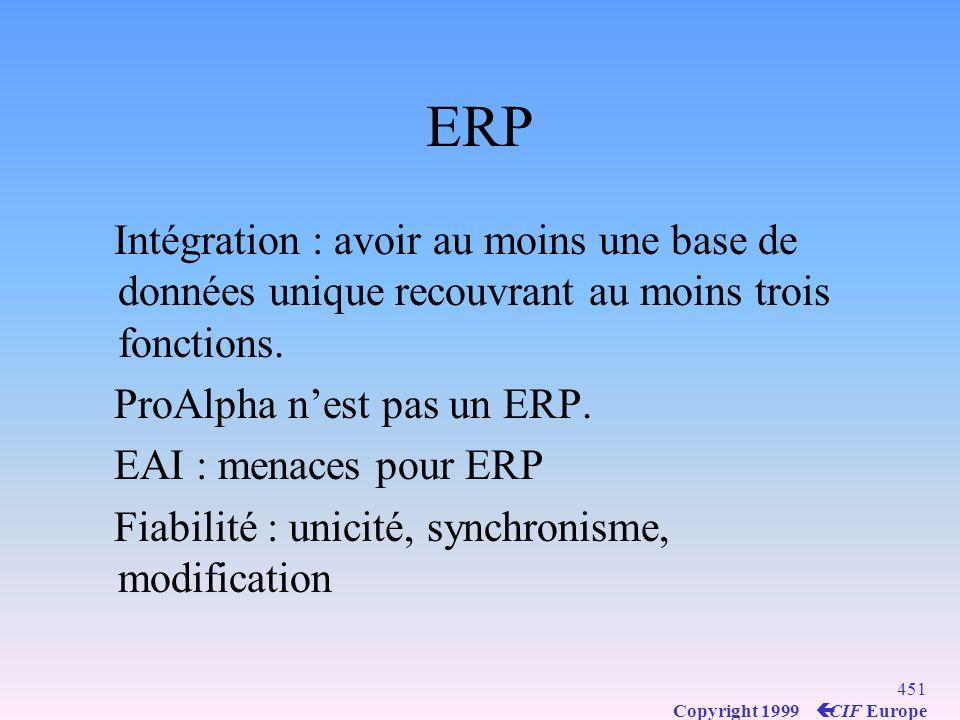 ERP Intégration : avoir au moins une base de données unique recouvrant au moins trois fonctions. ProAlpha n'est pas un ERP.