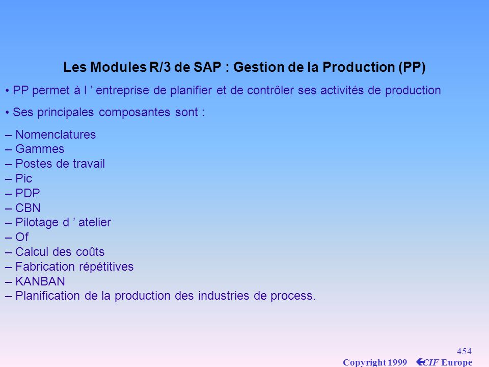 Les Modules R/3 de SAP : Gestion de la Production (PP)