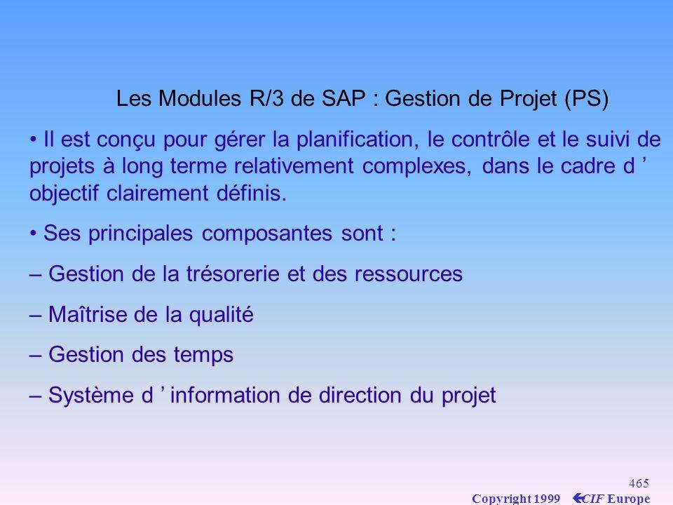 Les Modules R/3 de SAP : Gestion de Projet (PS)