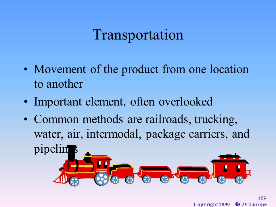 Transportation Movement of the product from one location to another